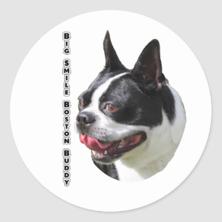 Cute Boston Bull Terrier Multi Products Selected Round Sticker