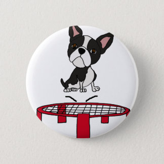 Cute Boston Terrie Dog on Trampoline Cartoon Pinback Button