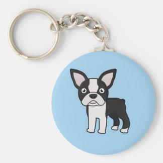 Cute Boston Terrier Basic Round Button Keychain