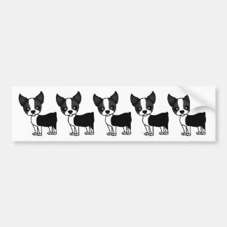 Cute Boston Terrier Cartoon Car Bumper Sticker