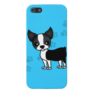 Cute Boston Terrier Cartoon Dog Blue iPhone SE/5/5s Case