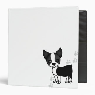 Cute Boston Terrier Cartoon Dog  - White Binder