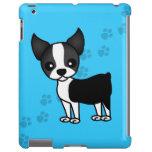 Cute Boston Terrier Cartoon Paw Prints - Blue
