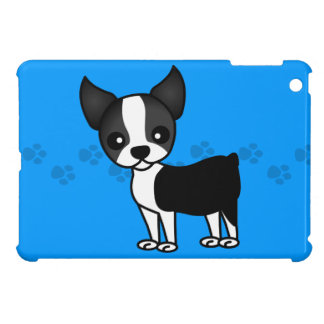 Cute Boston Terrier Cartoon Paw Prints - Blue iPad Mini Cases