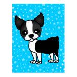 Cute Boston Terrier Cartoon Post Card