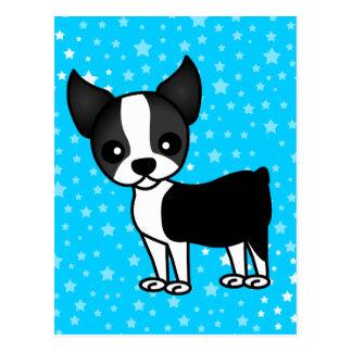 Cute Boston Terrier Cartoon Postcard