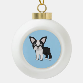 Cute Boston Terrier Ceramic Ball Christmas Ornament