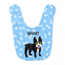 Cute Boston Terrier Dog Bib for Baby Custom Color