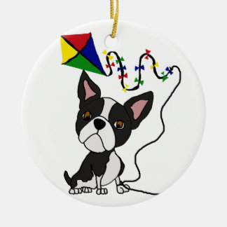 Cute Boston Terrier Dog Flying Kite Ceramic Ornament