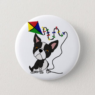 Cute Boston Terrier Dog Flying Kite Pinback Button