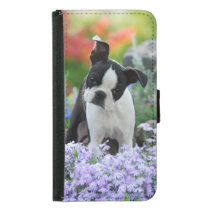 Cute Boston Terrier Dog Puppy Animal Photo - Samsung Galaxy S5 Wallet Case