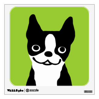 Cute Boston Terrier Dog Smiley Face Wall Decal