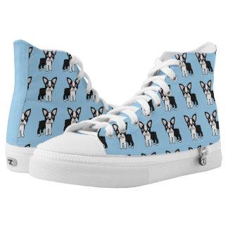 Cute Boston Terrier High-Top Sneakers
