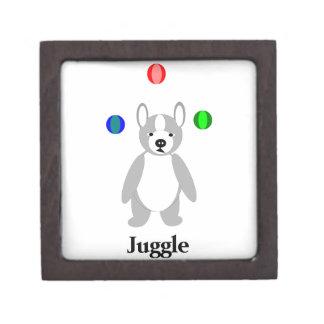 Cute Boston Terrier Juggling puppy Keepsake Box