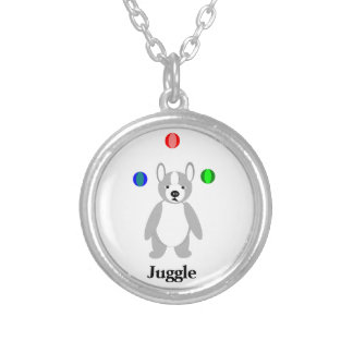 Cute Boston Terrier Juggling puppy Round Pendant Necklace