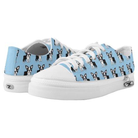 Cute Boston Terrier Low-Top Sneakers