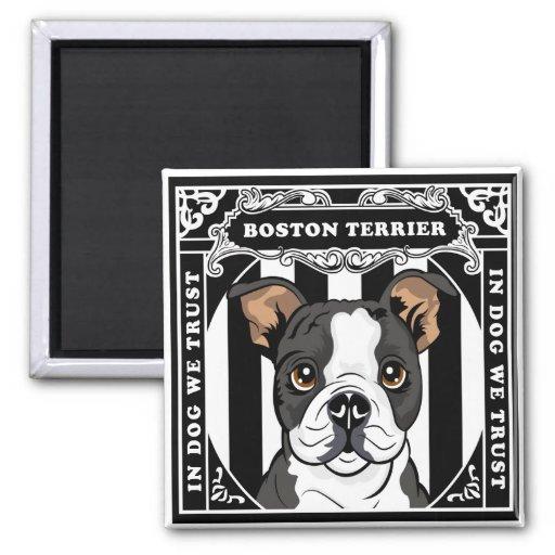 Cute Boston Terrier Magnet Square