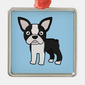 Cute Boston Terrier Metal Ornament