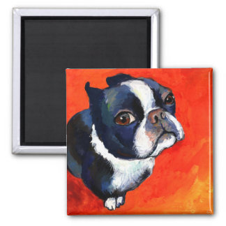 Cute Boston Terrier Painting Svetlana Novikova 2 Inch Square Magnet