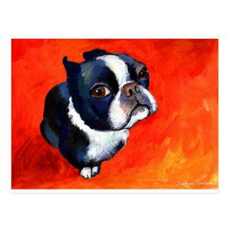 Cute Boston Terrier Painting Svetlana Novikova Postcard