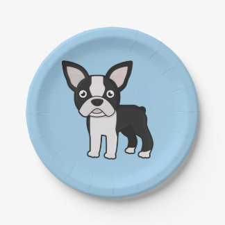 Cute Boston Terrier Paper Plate