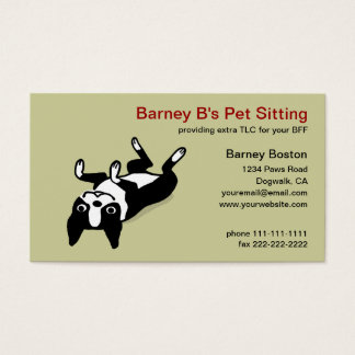 Cute Boston Terrier - Pet Care Business Card