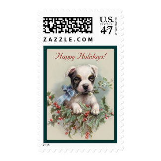 Cute Boston Terrier Puppy - Baby Animals Holiday Postage