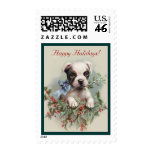Cute Boston Terrier Puppy - Baby Animals Holiday Postage Stamp