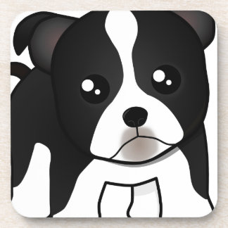 Cute Boston Terrier Puppy Dog Cartoon Animal Beverage Coaster