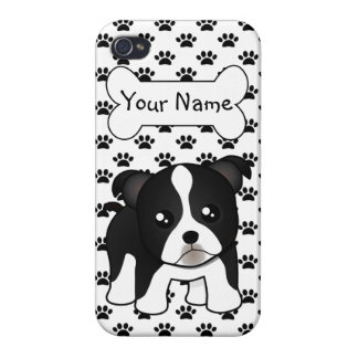 Cute Boston Terrier Puppy Dog Cartoon Animal iPhone 4 Covers
