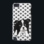 """Cute Boston Terrier Puppy Dog Cartoon Animal iPod Touch 5G Cover<br><div class=""""desc"""">A funny little Boston Terrier puppy dog cartoon animal. This kawaii style character has a black and white coat with short tail. He has a squared shape face and the tips of his little pointed puppy ears have flopped over making him oh so cute.</div>"""