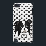 "Cute Boston Terrier Puppy Dog Cartoon Animal iPod Touch 5G Cover<br><div class=""desc"">A funny little Boston Terrier puppy dog cartoon animal. This kawaii style character has a black and white coat with short tail. He has a squared shape face and the tips of his little pointed puppy ears have flopped over making him oh so cute.</div>"