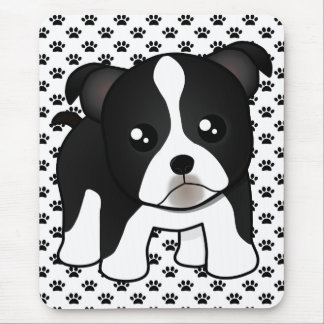 Cute Boston Terrier Puppy Dog Cartoon Animal Mouse Pads