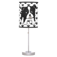 Cute Boston Terrier Puppy Dog Cartoon Animal Table Lamp