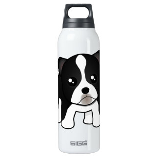 Cute Boston Terrier Puppy Dog Cartoon Animal Thermos Water Bottle