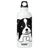 Cute Boston Terrier Puppy Dog Cartoon Animal Water Bottle