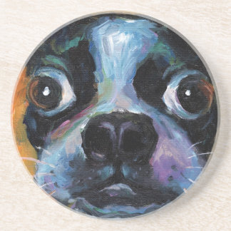 Cute Boston Terrier puppy dog portrait products Beverage Coasters