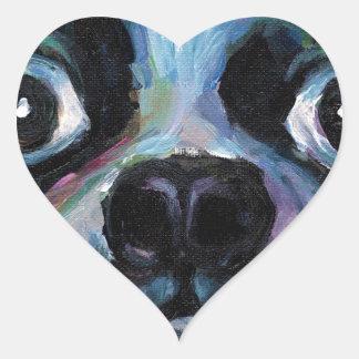 Cute Boston Terrier puppy dog portrait products Heart Sticker