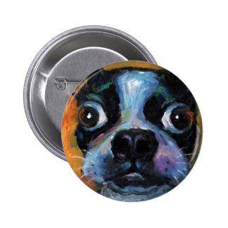 Cute Boston Terrier puppy dog portrait products Pinback Button