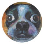 Cute Boston Terrier puppy dog portrait products Party Plates