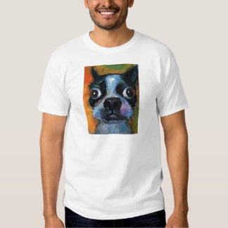 Cute Boston Terrier puppy dog portrait products T-Shirt
