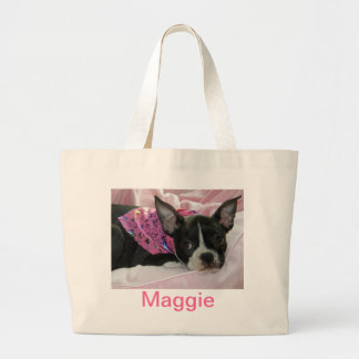 Cute Boston Terrier Puppy Large Tote Bag