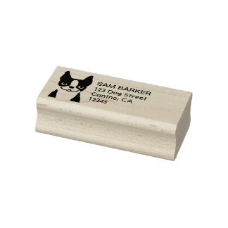 Cute Boston Terrier Return Address Rubber Stamp