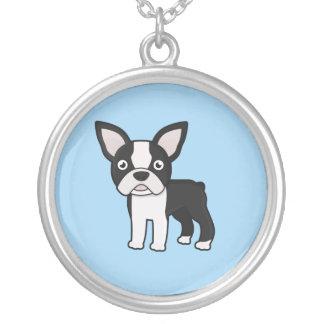 Cute Boston Terrier Round Pendant Necklace