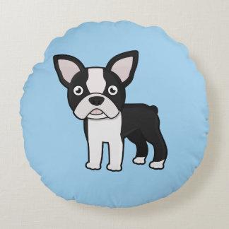 Cute Boston Terrier Round Pillow