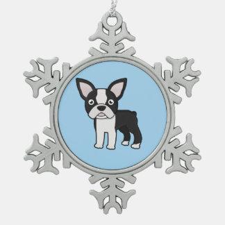 Cute Boston Terrier Snowflake Pewter Christmas Ornament