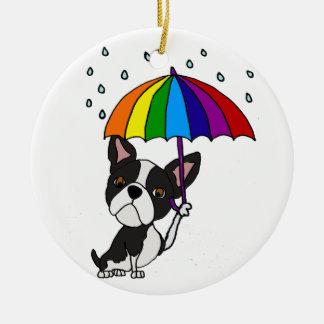 Cute Boston Terrier with Umbrella Cartoon Ceramic Ornament
