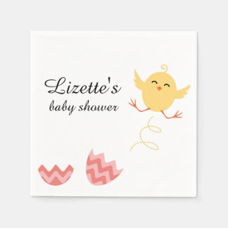 Cute Bouncing Chick Baby Shower Napkins