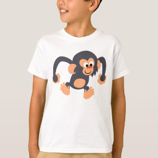 Cute Bouncy Cartoon Chimpanzee Children T-Shirt