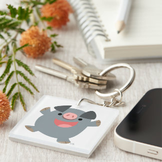 Cute Bouncy Cartoon Pig Acrylic Keychain
